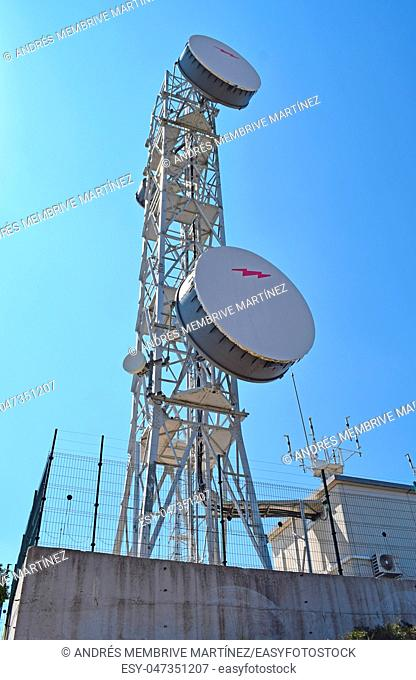 . . Telecommunications tower in El Garraf Mountains Barcelona