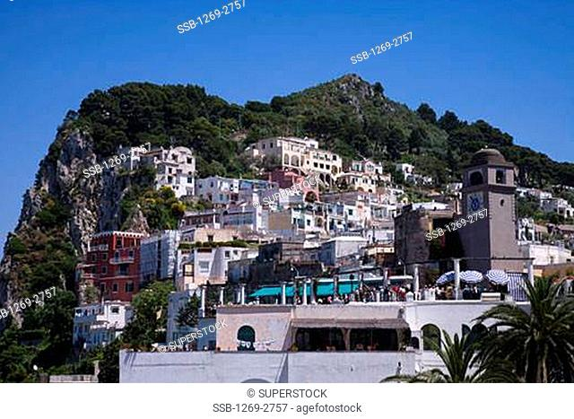 Low angle view of buildings on a hillside, Capri, Bay of Naples, Naples Province, Campania, Italy