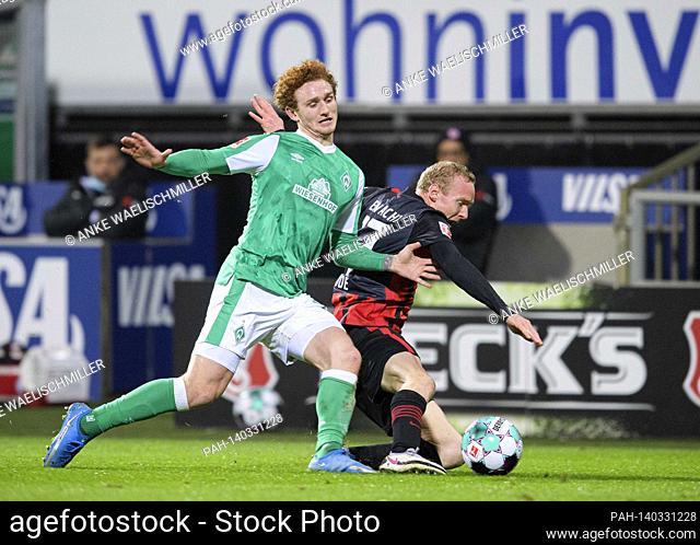 Joshua SARGENT l. (HB) in duels versus Sebastian RODE (F), action, football 1. Bundesliga, 23rd matchday, SV Werder Bremen (HB) - Eintracht Frankfurt (F) 2: 1