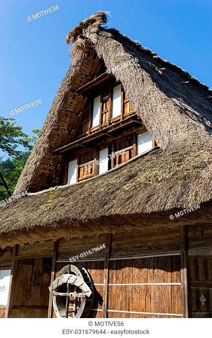 "Gassho Zukuri (Gassho-style) House in Suganuma area of Gokayama, Japan.Gokayama was registered as an UNESCO World Cultural Heritage site """"Historic Villages of..."
