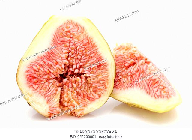 Ripe sweet fig isolated on a white background