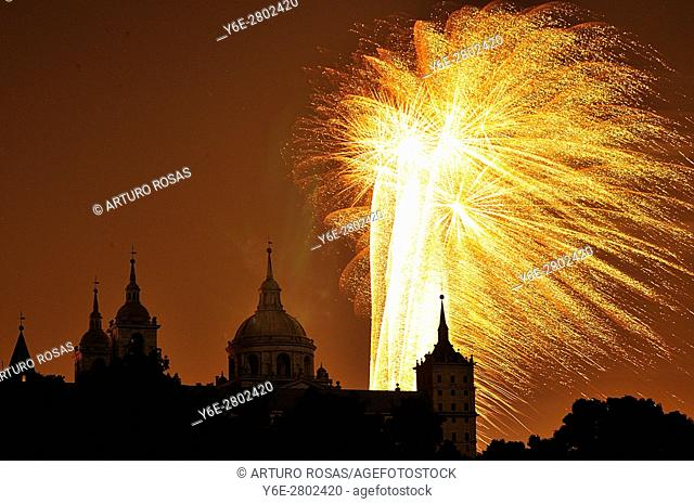 Fireworks show over the Monastery of San Lorenzo de El Escorial during the festivities of St Lawrence