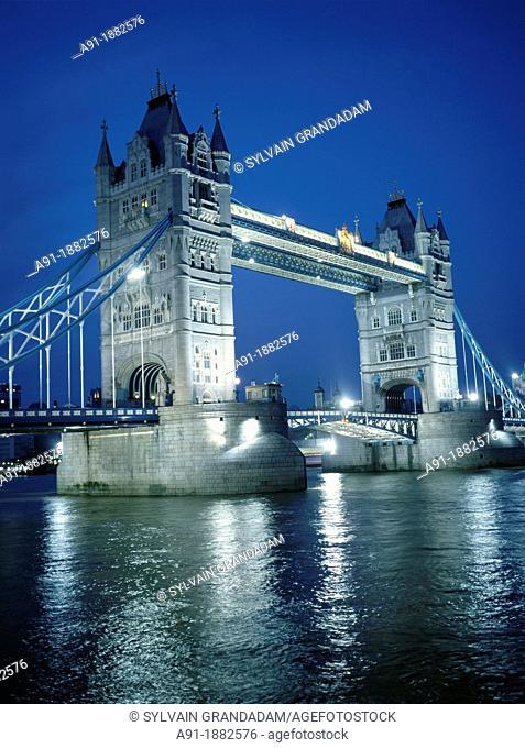 Tower Bridge over River Thames at night, London, England, UK