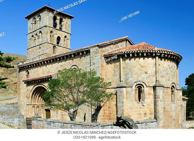 Overview of San Pedro collegiate, in Cervatos village, Campoo de Enmedio  It is considered as one of the most important romanesque churches of Cantabria and...