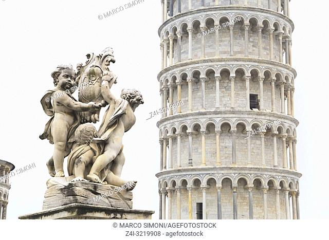Leaning Tower covered by a light snow, Pisa, Tuscany, Italy, Europe