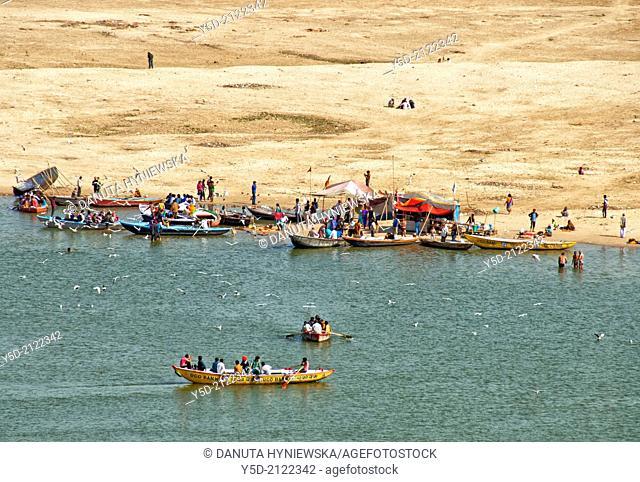 Life at the sandbank of Ganges river, shallow, Varanasi, India