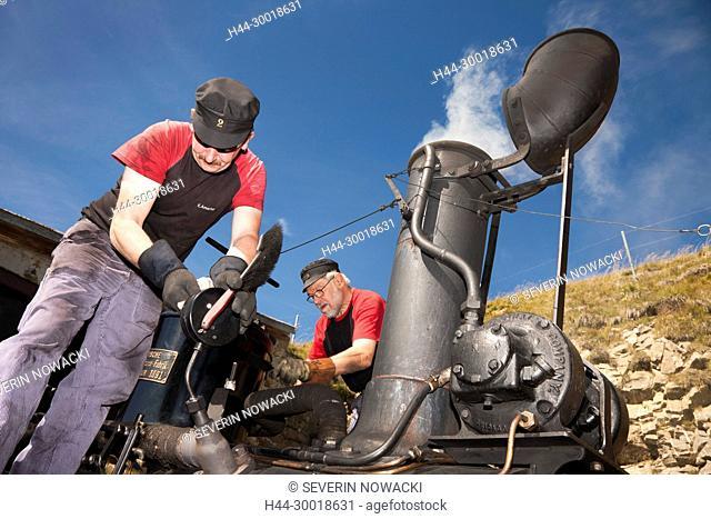 Schweiz Brienz Brienzer Rothorn Bahn. Dampflokomotive, BRB Nummer 2, Zahnradbahn