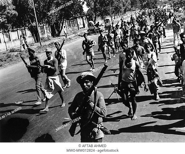 December 17, 1971: The Liberation War has ended Pakistani invading forces have surrendered War worn Freedom fighters return to Dhaka Bangladesh