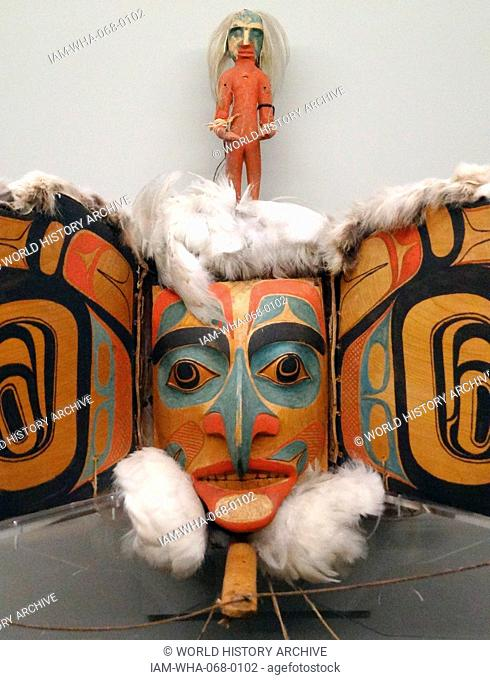 Raven transformation mask made by Chief Charles Edenshaw. From Canada, British Columbia, Haida Gwaii. Dated 1880