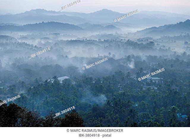 Morning fog over a hilly landscape, Ngapali Beach, Thandwe, Myanmar