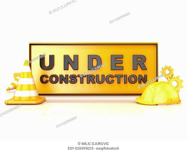 Under construction sign. 3D render illustration