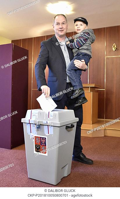 Petr Gazdik, Chairman of the Czech political party STAN - Starostove a nezavisli (Mayors and Independents) casts their ballot at a polling station during the...