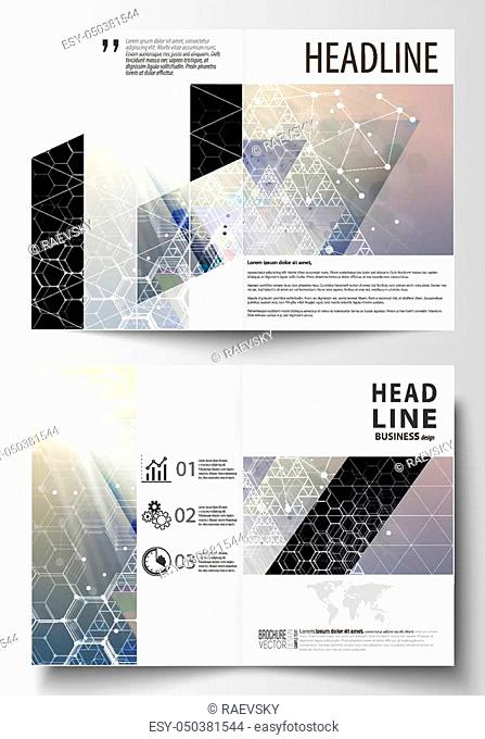 Templates for bi fold brochure, magazine, flyer or report. Cover design template, easy editable vector layout in A4 size