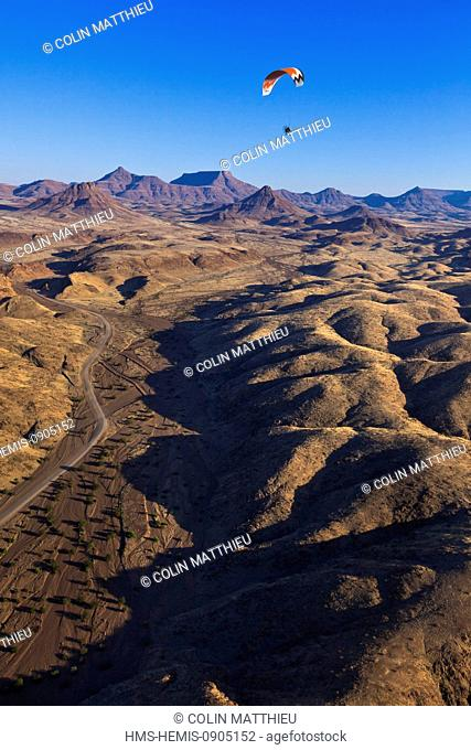 Namibia, Damaraland, Huab River Valley, paramotor (aerial view)