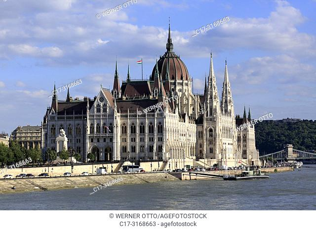 Budapest, Hungary, Central Hungary, Budapest, Danube, Capital City, Hungarian Parliament, parliament building by Imre Steindl at the Danube bank, Gothic Revival