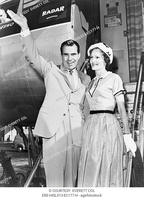 Vice President Richard Nixon, with wife Pat boarding an airplane in 1960