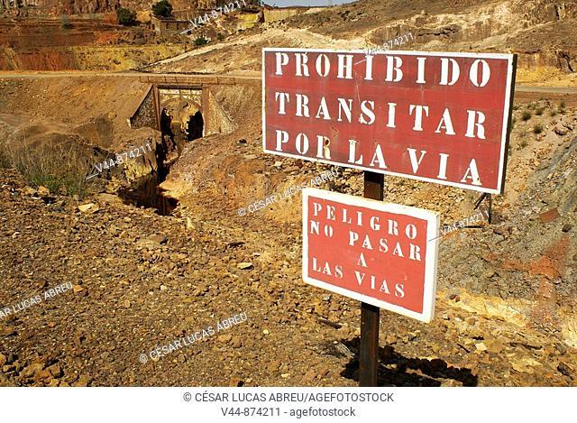 Riotinto old mine railway sign. Huelva province, Andalusia, Spain
