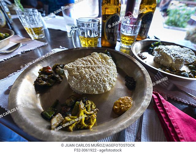 Everest local beer, nepali traditional food, Patan Museum, Durbar Marg, Patan, Lalitpur Metropolitan City, Kathmandu Valley, Nepal, Asia