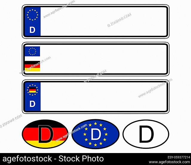 Autoschild auf weiss - German specific vehicle registration plate on white