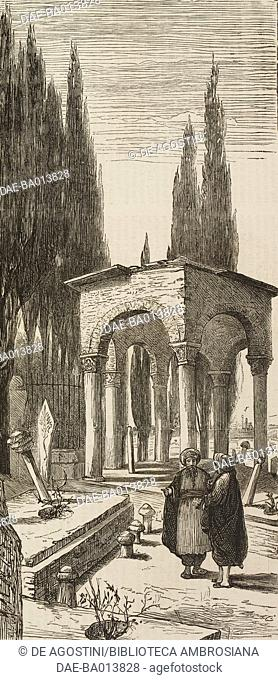 Tomb of the favorite horse of Sultan Mahmoud, the Turkish cemetery at Scutari (Uskudar), Istanbul, Turkey, illustration from the magazine The Graphic