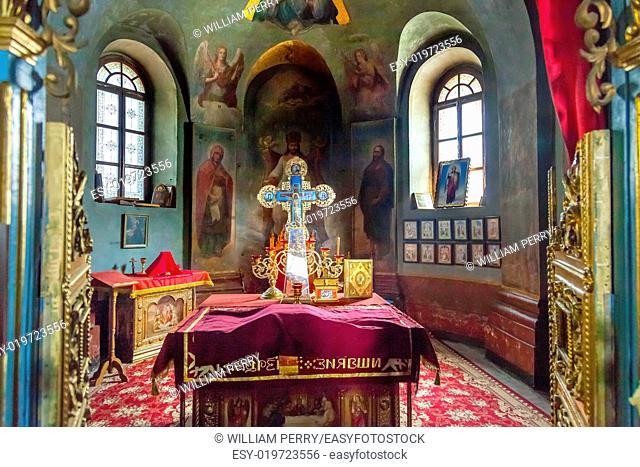 Ancient Mosaics Icons Rectory Saint Michael Vydubytsky Monastery Kiev Ukraine. Saint Michael's is the oldest functioning Orthordox Monasatery in Kiev