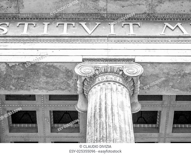 Altes Museum of Antiquities in Museumsinsel Berlin Germany in black and white