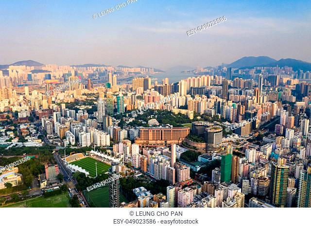 Sham Shui Po, Hong Kong, 11 September 2018:- Aerial view of Hong Kong city in the evening