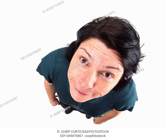 woman making mockery on white