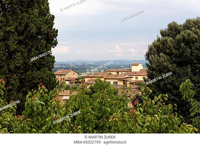 View at the village Sinalunga, province Siena, Tuscany, Italy, cypress, trees, shrubs