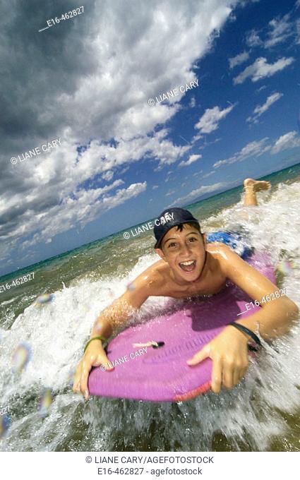 Boy on boogie board
