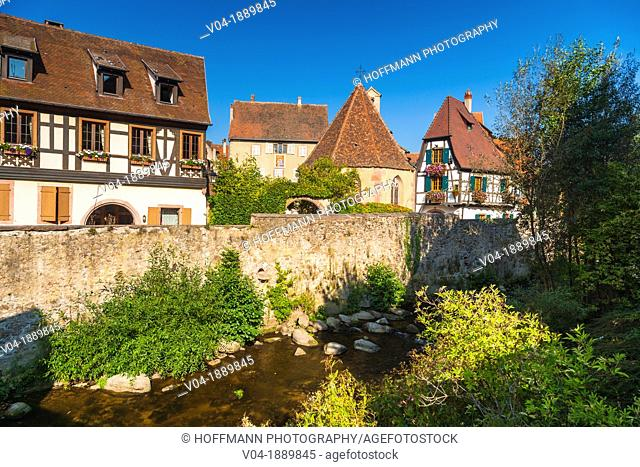 Timbered houses and city wall in Kaysersberg, Alsace, France, Europe