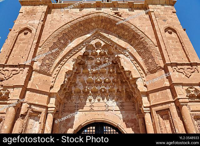 Main gate of the 18th Century Ottoman architecture of the Ishak Pasha Palace (Turkish: ?shak Pa?a Saray?) , Agr? province of eastern Turkey