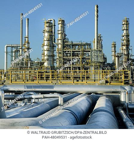 View of pipes which transport crude oil from Russia to the distillation plant and the visbreaker at the 'Total' oil refinery in Leuna, Germany, 12 March 2014