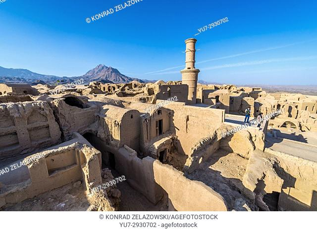 Aerial view of old, abandoned part of Kharanaq village in Ardakan County, Yazd Province, Iran