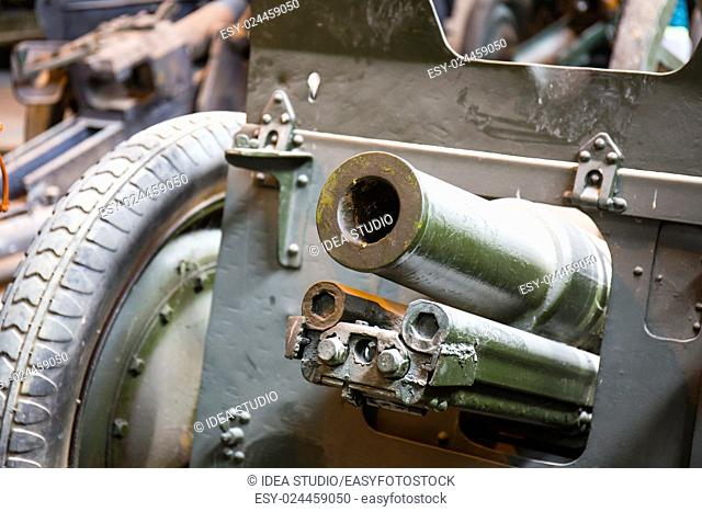 Old soviet military howitzer close up view