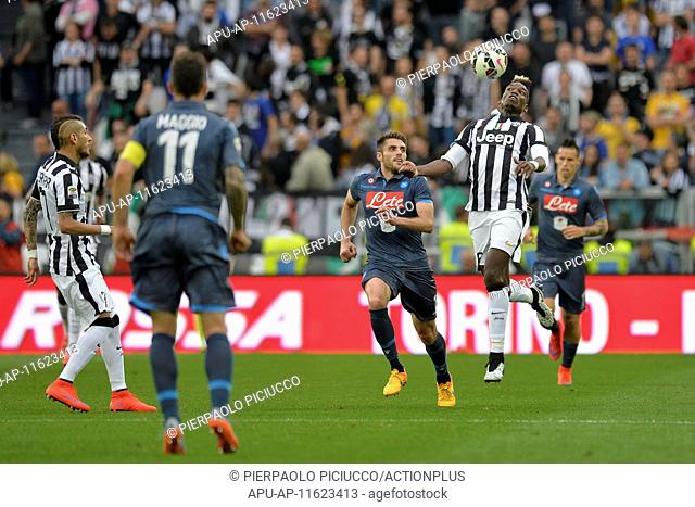 2015 Serie A Football Juventus v Napoli May 23rd. 23.05.2015. Turin, Italy. Serie A Football. Juventus versus Napoli. Paul Pogba controls a high ball