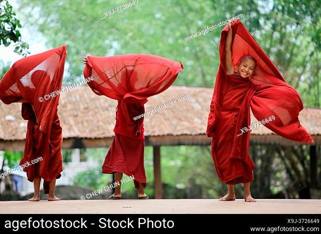 Novice monks in the Shwe Yaunghwe Kyaung Monastery, near Nyaungshwe, Shan State, Myanmar