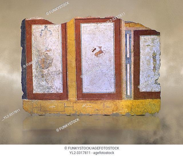 Roman fresco wall decorations of Room E10 0f La Domus, Rome. Museo Nazionale Romano, 130-140AD ( National Roman Museum), Rome, Italy