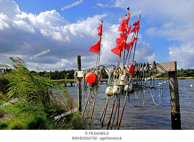 fishing boat, buoys and red flags for fishing nets in idyllic port of Darss, Germany, Mecklenburg-Western Pomerania, Prerow