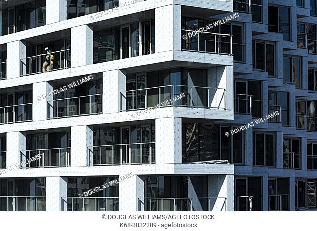 Vancouver House, a tower under construction in Vancouver, BC, Canada. Design by Bjarke Ingels Group Architects
