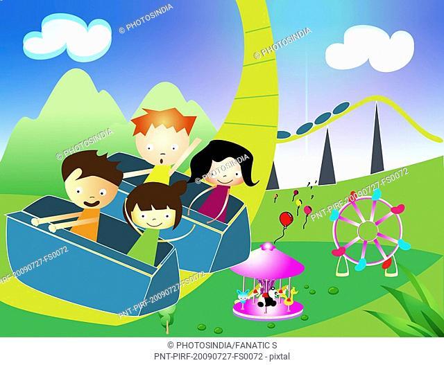 Children riding on a rollercoaster in an amusement park