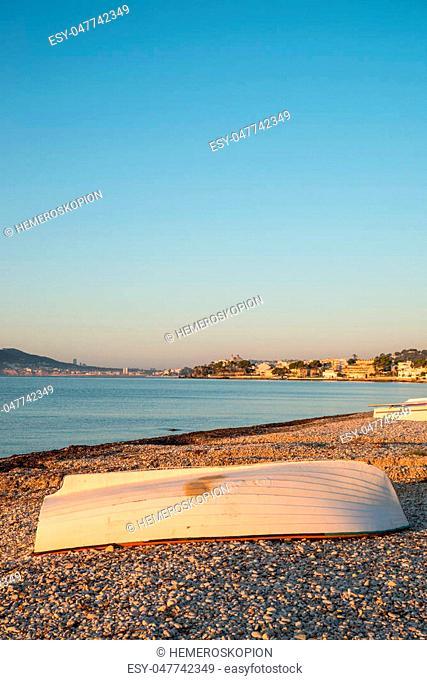 Small fishing boats ashore under early morning sun, Altea, Costa blanca, Spain