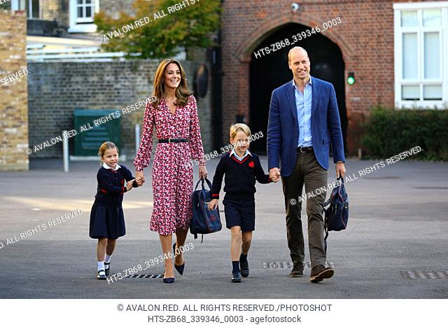 Princess Charlotte, with by her father, the Duke of Cambridge, and mother, the Duchess of Cambridge and Prince George, arriving for her first day of school at...