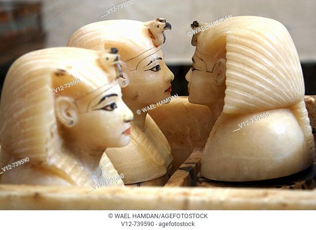 Alabaster canopic jars from Tutankhamun's Tomb at Egyptian Museum, Cairo, Egypt