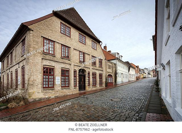 Deserted street in Neustadt, Schleswig-Holstein, Germany
