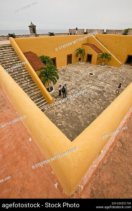 View of the interior of the Fort of San Miguel, Campeche, Mexico taken from the ramparts above the fort