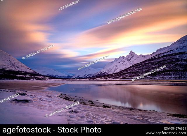 Langrasmoen mountain with Lakselva river in Northern Norway