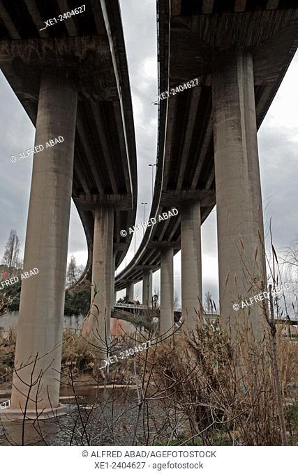 pillars of Viaduct, highway, river Llobregat, Martorell, Catalonia, Spain