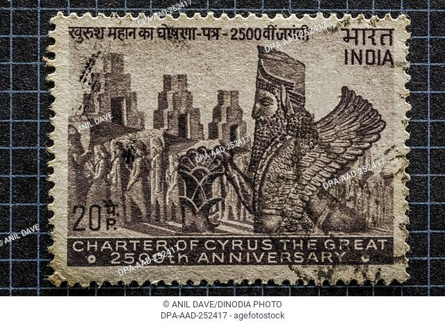Cyrus the great 2500th anniversary, postage stamps, india, asia