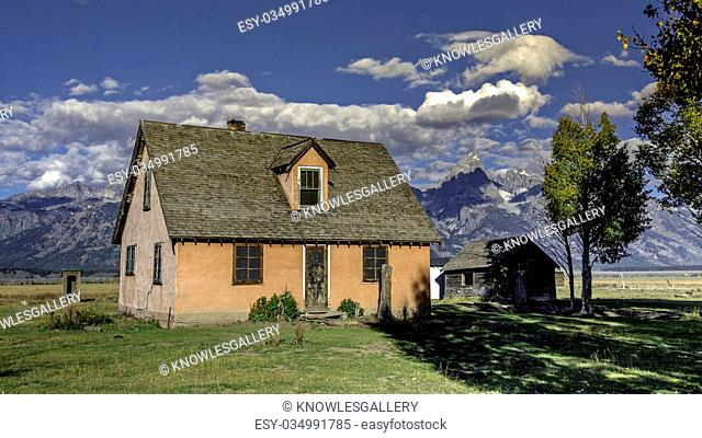 Old abandon farmhouse at the Tetons Mountains